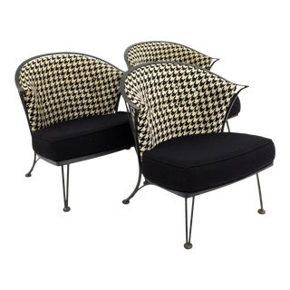 Salterini Mid Century Outdoor Wrought Iron and Black and White Houndstooth Patio Chairs - Set of 3 For Sale