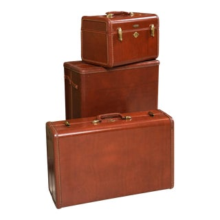 Samsonite Deco Leather Suitcase Luggage Suite For Sale