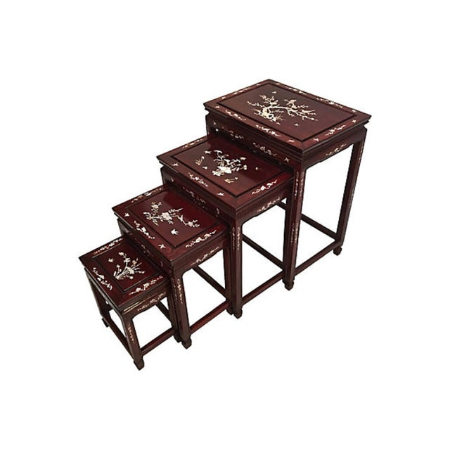 Asian Chinese Rosewood & Abalone Nesting Tables - Set of 4 For Sale - Image 3 of 5