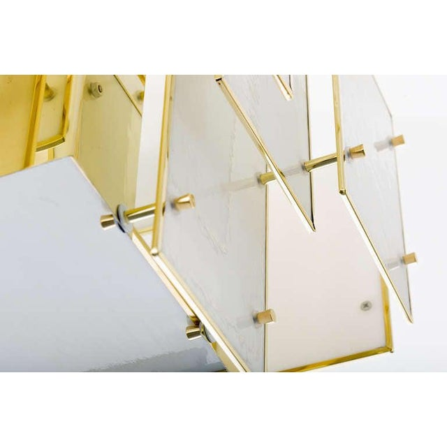Early 21st Century Geometric Milk Glass Panel Chandelier For Sale - Image 5 of 8