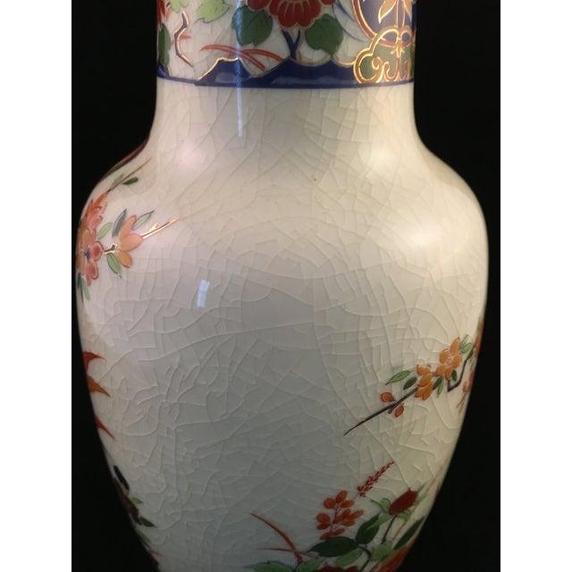 White Japanese Floral and Bird Crackle Glazed Vase For Sale - Image 8 of 13