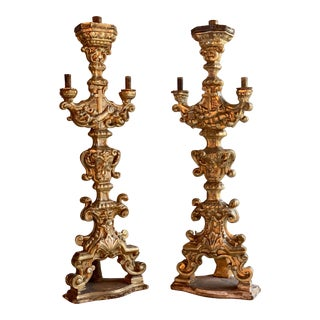Antique 18th Century Carved Baroque Candlesticks Silvered Giltwood, circa 1750 - A Pair For Sale