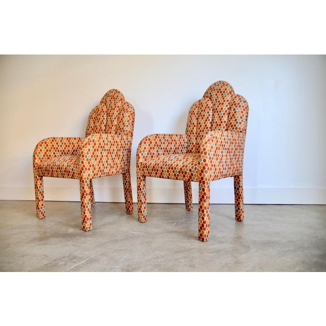 1980s Scalloped Postmodern Armchairs- A Pair For Sale - Image 5 of 13