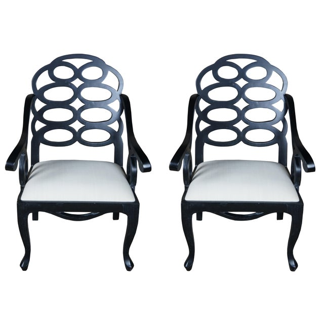 Mid Century Caesar Arm Chairs Modern Geometric Chinoiserie - a Pair For Sale - Image 11 of 11