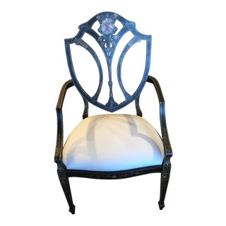 Julia Grey Shield Back Painted Black Arm Chair For Sale