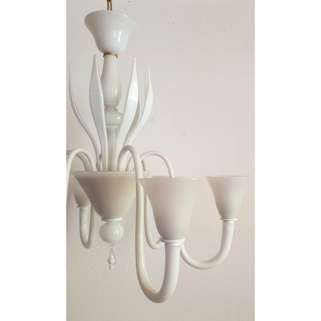 Large Mid-Century Modern 6 Lights Milk Murano Glass Chandelier by Venini For Sale In Boston - Image 6 of 11