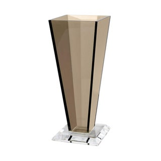 X Large Minimalist Modern Smoked Lucite Vase by Haziza For Sale