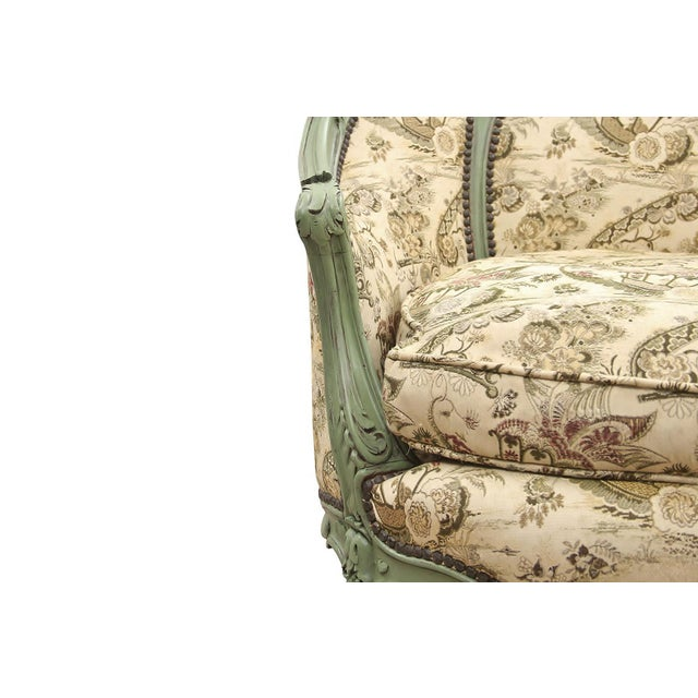 Green French Rococo Style Settee For Sale - Image 8 of 9