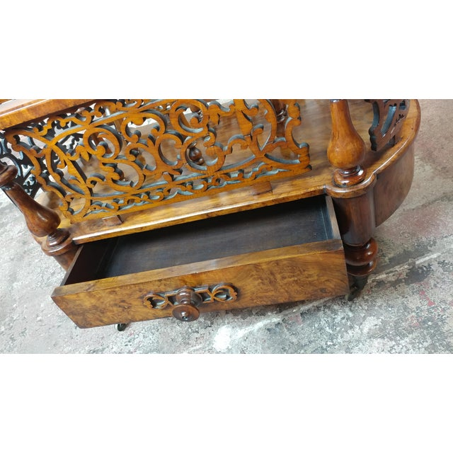 Wood 19th c. Georgian Carved Burl Wood Library Book Stand & Magazine rack For Sale - Image 7 of 12