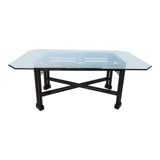 Chinese Chippendale Dining Table With Glass Top For Sale