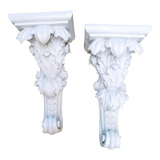 A Pair White Gloss Carved Detailed Wall Sconce Shelves For Sale