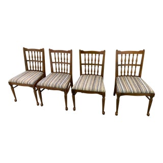 Vintage Wooden Dining Chairs - Set of 4 For Sale