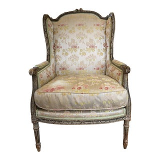 19th Century Louis XVI Style Painted Bergere a Oreilles Wingback Chair For Sale