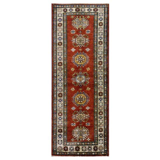 Afghan Kazak Wool Rug - 2'x6'2'' For Sale - Image 4 of 4