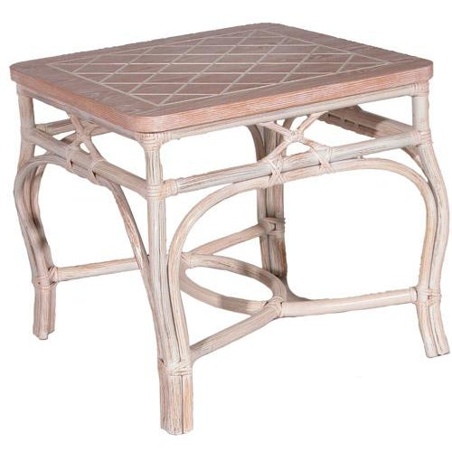 White-Wash Finish Rattan Occasional Table For Sale - Image 11 of 11