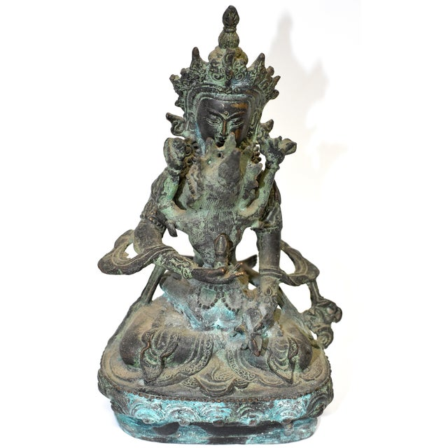 Bronze Tibetan Couple Statue Vajrasattva Yab Yum Early 19th Century For Sale - Image 13 of 13