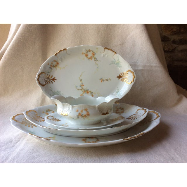 French Heirloom Porcelain Gravy Boat and Platters Serving Pieces - 4 Pc. Set For Sale - Image 13 of 13