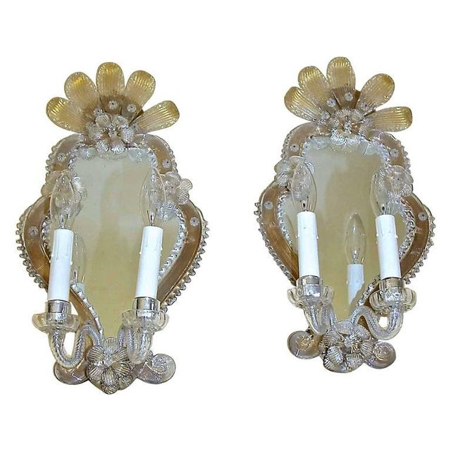 1920s Venetian Italian Mirrored Wall Sconces - a Pair For Sale - Image 12 of 12