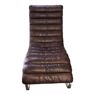Mecox Distressed Brown Leather Chaise