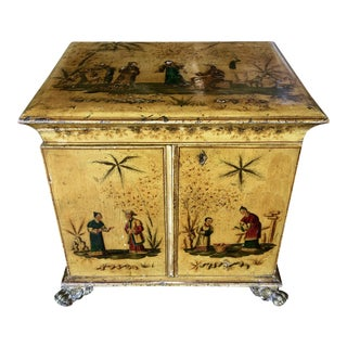 Vintage Regency Yellow Chinoiserie Vanity Cabinet For Sale