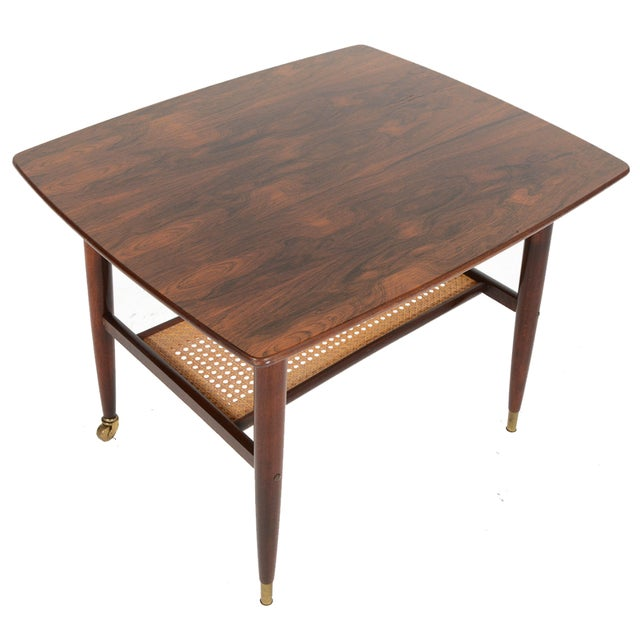 Danish Modern Rosewood Side Table With Rack - Image 1 of 7