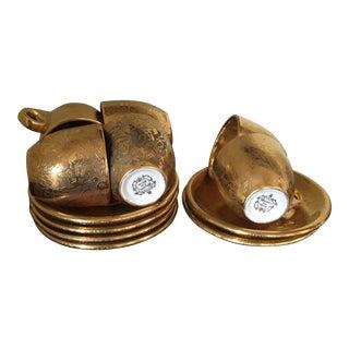 Vintage Stoufer Fine China Gold Floral Demitasse Cup & Saucer For Sale