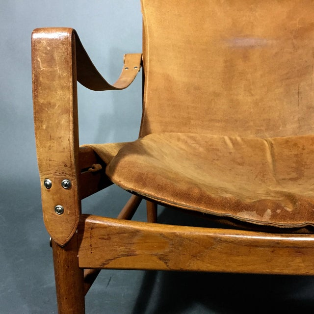 "Brown Hans Olsen ""Antilop"" Suede and Oak Safari Chair For Sale - Image 8 of 11"