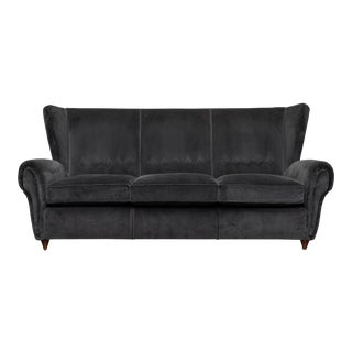 Mid-Century Modern Italian Wingback Sofa For Sale
