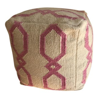 Boho Moroccan Pink Patterned Pouf For Sale
