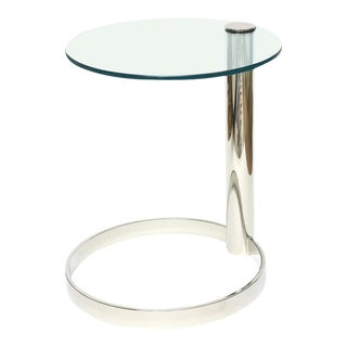 Pace Modern Nickel Silver and Glass Round Sculptural Cantilver Side Table