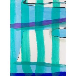 Teal Stripes Original Jessalin Beutler Painting on Canvas For Sale