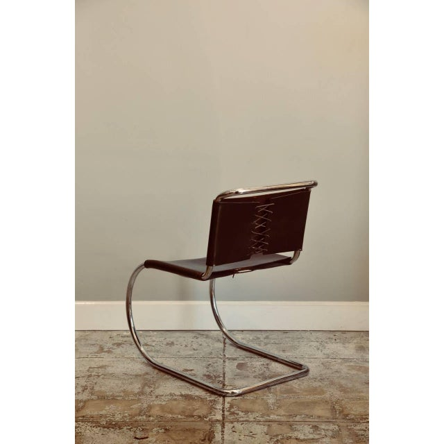 Knoll Set of Four Classic Thick Leather and Chrome Mr Chairs by Mies Van Der Rohe For Sale - Image 4 of 10