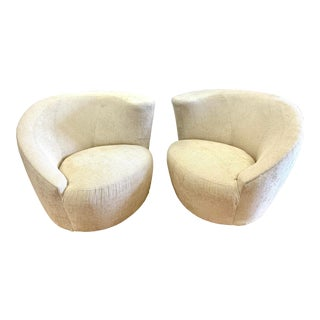 Pair of Mid Century Kagan Nautilus Swivel Chairs For Sale