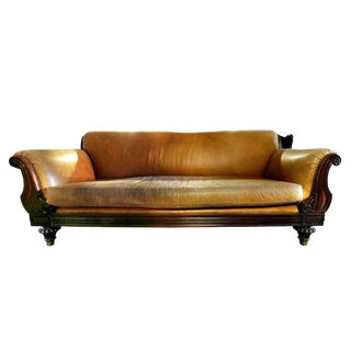 20th Century Traditional Tan Leather Sofa For Sale