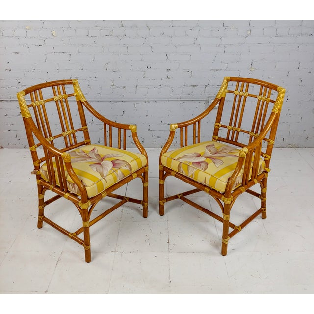 American Vintage McGuire Rattan Dining Chairs - Set of 4 For Sale - Image 3 of 11