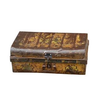 Vintage Yellow Metal Trunk