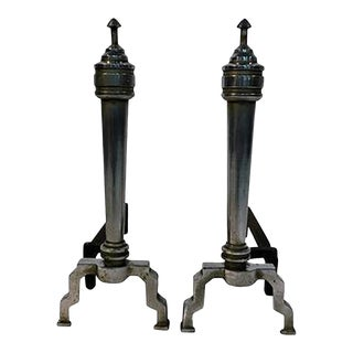 1930s Modernist Art Deco Chromed Bronze Andirons - a Pair For Sale