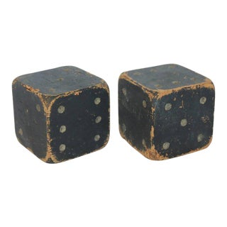 Antique Large Carnival Wood Dice - A Pair