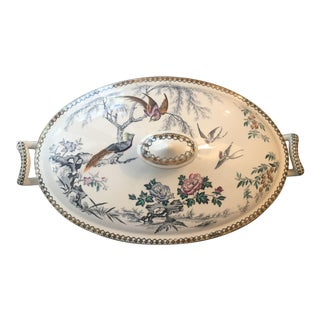 Antique Ironstone Transferware Footed Serving Dish With Lid Parisian Granite by Elsmore For Sale