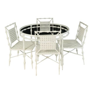 Faux Bamboo Outdoor Dining Table & 4 Chairs by Phyllis Morris For Sale