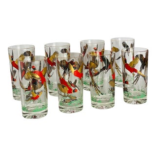 1960s Mid-Century Red and Gold Pheasants Glass Tumblers - Set of 8 For Sale