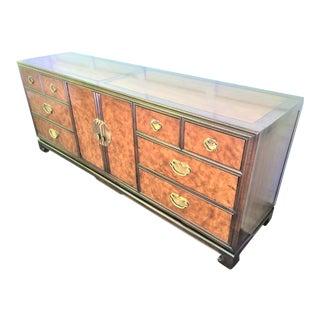 Drexel Mid Century Burl Wood Chinoiserie Dresser For Sale