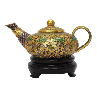 Chinese Champleve Tea Pot & Stand For Sale