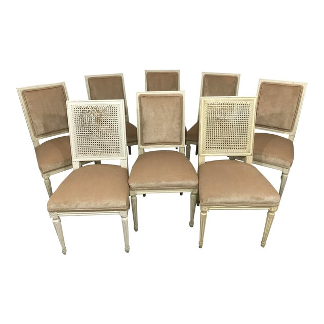 Louis XVI Style Dining Chairs Set of 8 For Sale