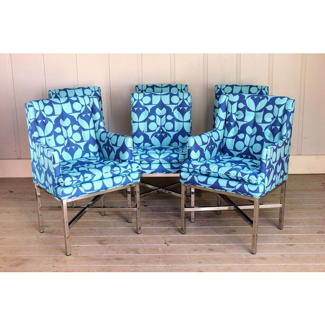 Metal Vintage Blue Upholstered Bernhardt Flair Division Chairs - Set of 6 For Sale - Image 7 of 7