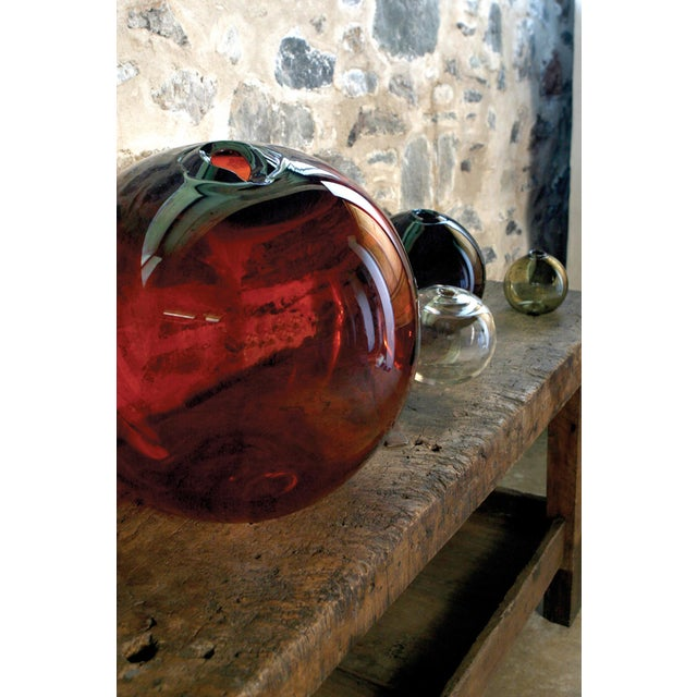 """Contemporary SkLO Float Glass Vessel 8"""" - Amber For Sale - Image 3 of 10"""