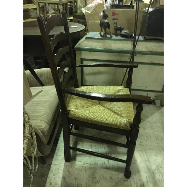Four English Oak Ladder Back Armchairs For Sale In South Bend - Image 6 of 7