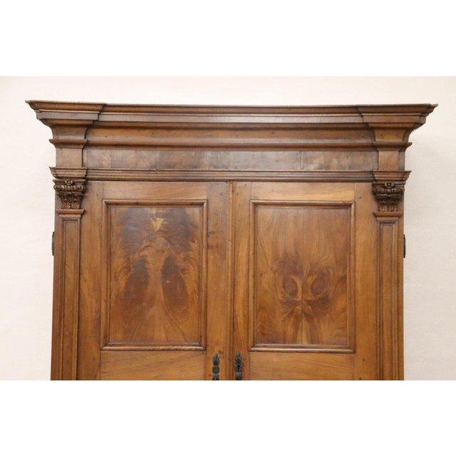 17th Century Italian Louis XIV Walnut Carved Wardrobe or Armoire For Sale - Image 4 of 13