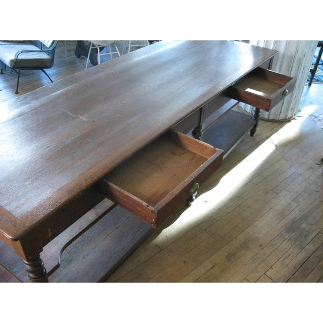 Wood Antique 1940s Three Shelf Mercantile Table For Sale - Image 7 of 8