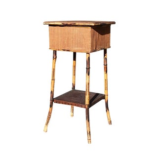 Antique Two Tier Cane and Scorched Bamboo Tiger Wood Side Table With Storage Top For Sale